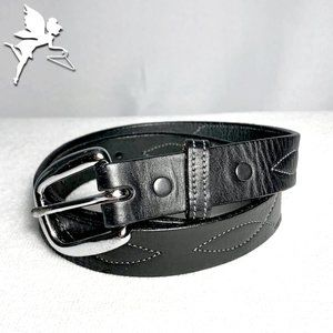 TORY LEATHER Topstitched western belt